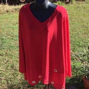 🌹NWOT Stylish New Directions Sz 2X Red Hot Top 🌹